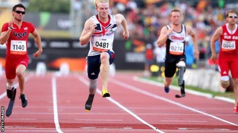 Britain's Jonnie Peacock wins the T44 100m in Lyon