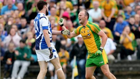 Colm McFadden celebrates after scoring a late point in the 0-14 to 0-8 victory over Laois