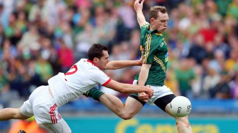 Tyrone's Ryan McKenna fails to prevent Meath forward Eamonn Wallace from firing in an early goal at Croke Park
