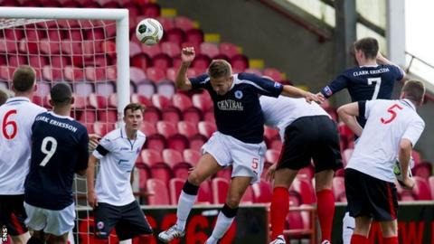 Conor McGrandles scores for Falkirk against Clyde