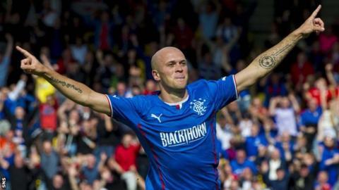 Nicky Law celebrates scoring for Rangers