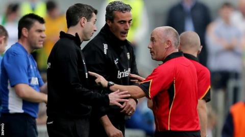 Jim McGuinness and Rory Gallagher remonstrate with referee Marty Duffy during Saturday's win over Laois