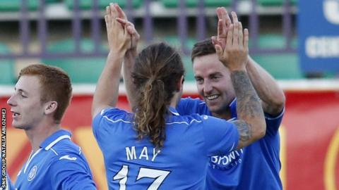 Stevie MacLean celebrates with Stevie May