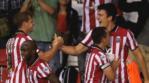 Sheffield United players celebrate