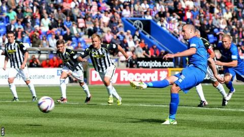 James Vincent scores a penalty for Inverness against St Mirren