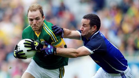 Darran O'Sullivan and Alan Clarke in action during the first-half of the Kerry-Cavan last eight clash