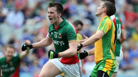 Cillian O'Connor celebrates after scoring his third goal at Croke Park