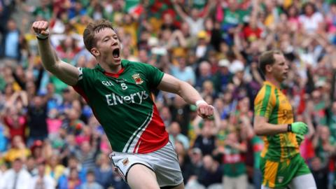 Donal Vaughan celebrates after scoring one of Mayo's goals against Donegal at Croke Park
