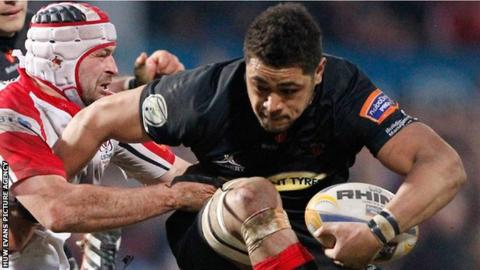 Toby Faletau in action for the Dragons against Ulster during a Pro 12 match