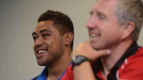 Lyn Jones and Toby Faletau share a joke
