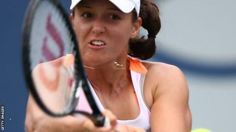 Laura Robson plays a backhand at the recent Southern California Open