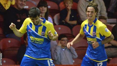 Accrington's Piero Mingoia celebrates his winning goal at Middlesbrough