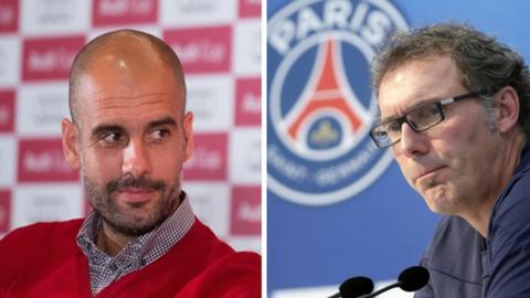 Pep Guardiola and Laurent Blanc