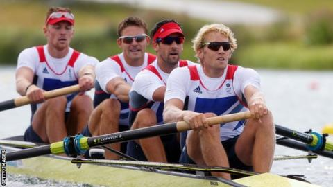 Olympic men's four champions Pete Reed, Andy Triggs Hodge, Tom James and Alex Gregory