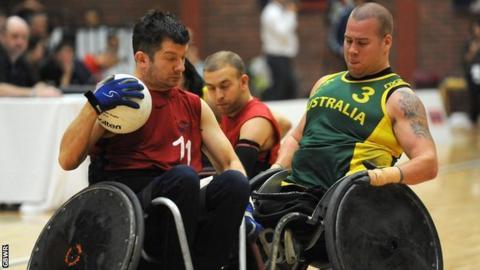 Alan Ash is challenged by Australia's Ryley Batt