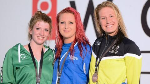 Medal Winners for the womens 200m Freestyle S14 (l-r) Bethany Firth of Ireland (silver), Jessica-Jane Applegate of Great Britain (gold) and Taylor Corry of Australia (bronze)