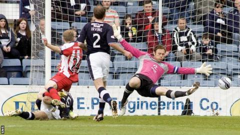 Steve Simonsen in action for Dundee last season