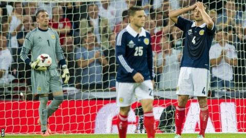 Scotland players Allan McGregor, Craig Conway and Russell Martin