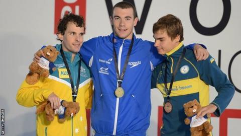 Josef Craig and silver and bronze medallists Matthew Levy and Yevhiniy Boholdayko