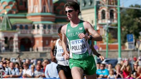 Paul Pollock in action in the World Championship marathon in Moscow