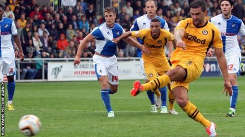 Andy Sandell scores for Newport County