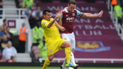 Cardiff City's Gary Medel and West Ham's Kevin Nolan