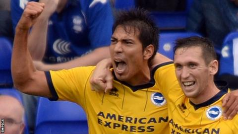 Brighton matchwinner Andy Crofts (right) and team-mate Leo Ulloa