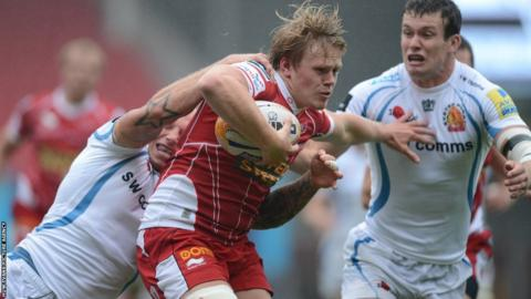 Scarlets' Dan Thomas is halted as they lose 23-15 in a pre-season clash against Exeter at Parc y Scarlets