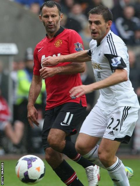 Manchester United's Welsh veteran Ryan Giggs, starting his 22nd Premier League season, takes on Angel Rangel
