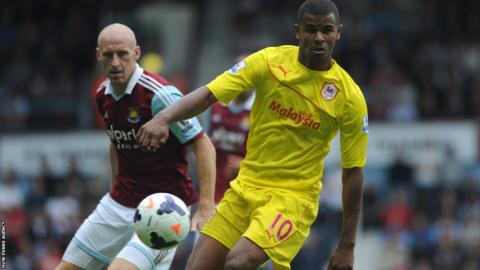 Cardiff Frazier Campbell and West Ham's James Collins