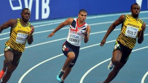 Adam Gemili takes on Usain Bolt