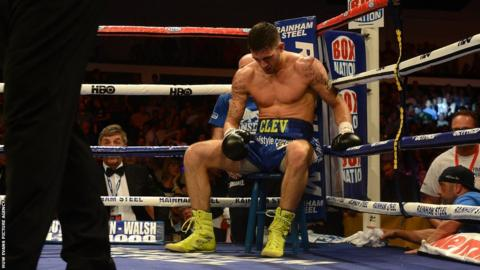 Nathan Cleverly is left dejected as he returns to his stool