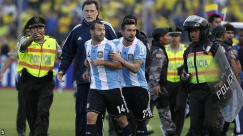 Javier Mascherano is sent off against Ecuador