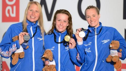 GB trio Stephanie Millward, Amy Marren and Claire Cashmore