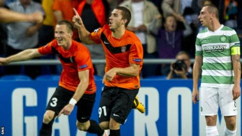 Shakhter Karagandy celebrate against Celtic