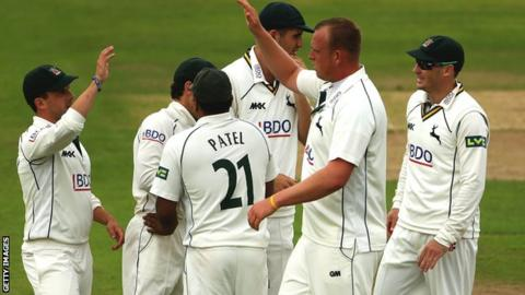 Luke Fletcher and Notts celebrate