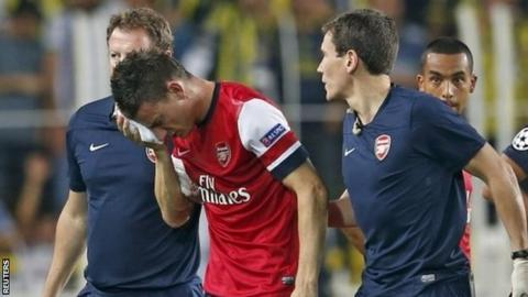 Arsenal defender Laurent Koscielny walks off after suffering his injury against Fenerbahce