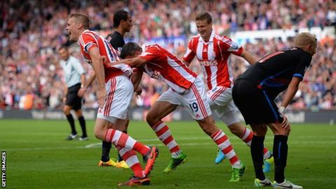 Ryan Shawcross (left) wheels away in celebration after his goal for Stoke against Crystal Palace