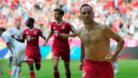 Franck Ribery celebrates after scoring for Bayern Munich