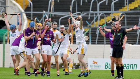 The Antrim celebrations begin as the final whistle sounds at Semple Stadium