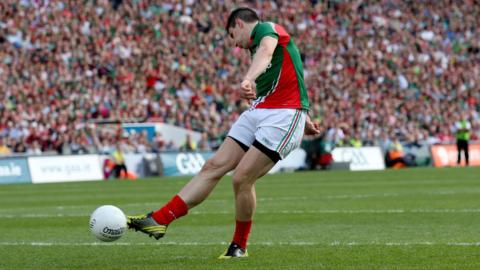 Mayo forward Alan Freeman scores Mayo's goal from the penalty spot during their 1-16 to 0-13 victory over Mayo in the All-Ireland football semi-final