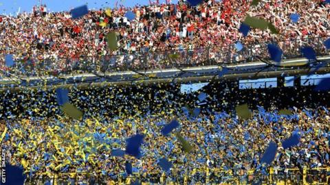 Fans of Boca Juniors (bottom) and River Plate (top) before the 2013 Superclasico at La Bombonera