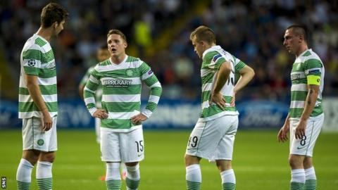 Celtic players following the first leg defeat by Shakhter