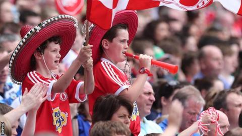 Tyrone fans watch the semi-final against Mayo at Croke Park