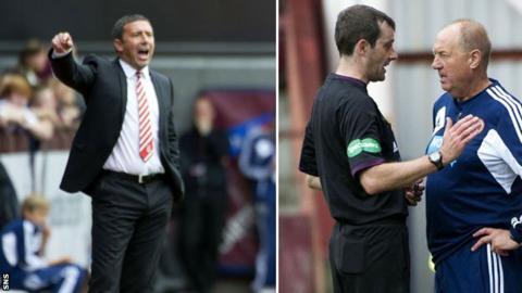 Aberdeen boss Derek McInnes and Hearts assistant boss Billy Brown