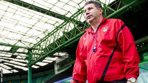 Viktor Kumykov arrives for training at Celtic Park