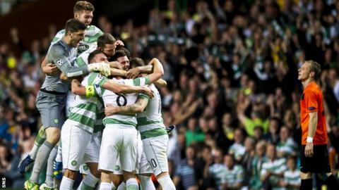 Celtic won 3-0 in Glasgow to progress 3-2 on aggregate
