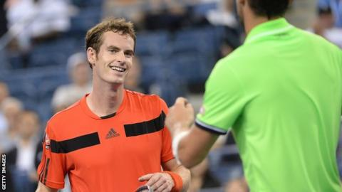 Andy Murray prepares to shake hands with Michael Llodra after his win