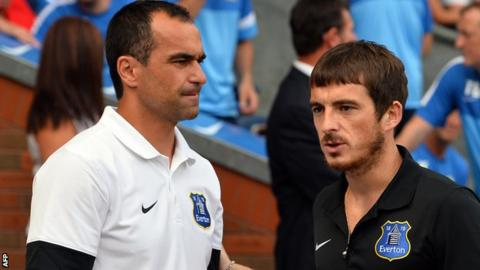Roberto Martinez (l) and Leighton Baines
