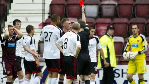 Hearts defender Kevin McHattie is sent off against Aberdeen